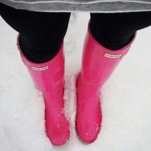 Hunter Hot Pink Original Tall Gloss Rain Boots
